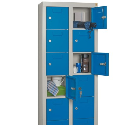 Kleinfachschrank PAVOY, 30 Fächer, HxBxT 1.950 x 460 x 200 mm, mit Etikettenrahmen